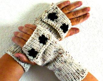 Knit Hand Warmers Knit Beige Gloves Black Flowers Womens Handwarmers Cozy Gloves Warm Winter Gloves Winter Accessories Ecru Fashion Gloves