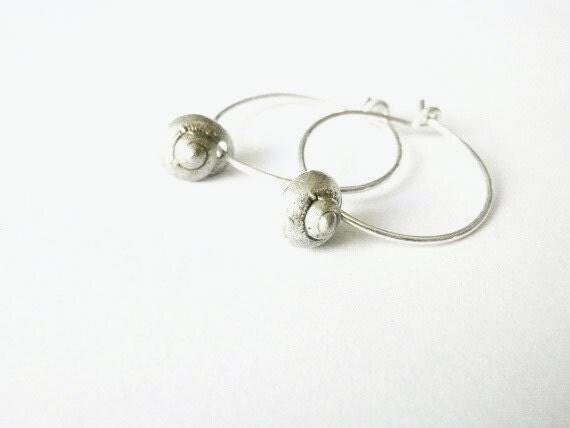 Shell hoop Sterling silver Lost wax method  Minimal Nautical design
