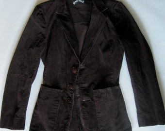 1970's corduroy jacket, slim fitted, in rich deep brown with hip patch pockets and large buttons, small (2 - 4)