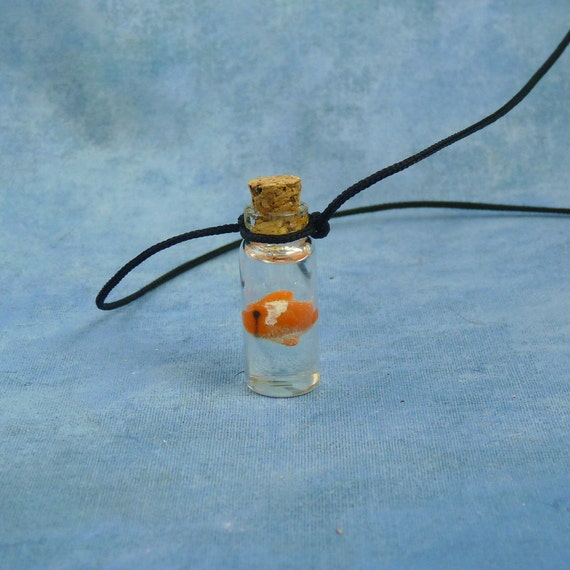 Goldfish Specimen Jar Necklace, Handmade Biology Jewelry
