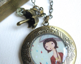 Antique Locket - Catching Raindrops - statement necklaces, locket necklace