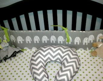 Boppy Cover - Custom made, choose your own fabrics - Crib Bedding Gray Lime Yellow Chevron Elephant Dot Giraffe Boy Baby Nursery
