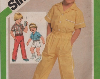 Simplicity 9888 1980s Toddlers Pull On Pants Shirt and Shorts Pattern Boys Vintage Sewing Pattern Size 4 Chest  23 Uncut
