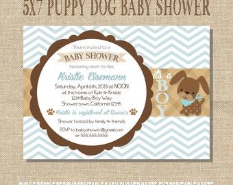Puppy Dog Baby Boy Shower Invitation, Blue & Brown 5x7 printable