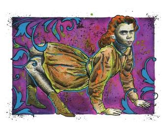 "Lucy Elvira Jones - Dog Girl - 11"" x 8.5""  LIMITED EDITION High Quality Art Print"