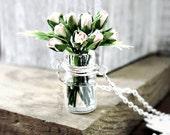 Rose Bouquet Necklace / Miniature Wedding Flower Bouquet / Bridal Jewelry / White Roses