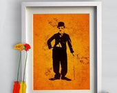 Print Charlie Chaplin illustration  Birthday Gift art giclee Poster Print portrait canvas Wall Decor Classic Actor Silent Film Comedy Movie