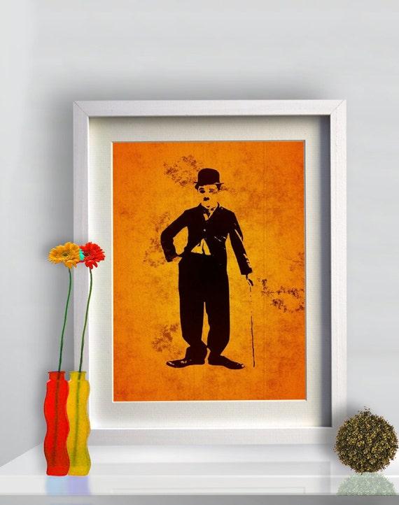Print Charlie Chaplin illustration  Birthday Gift art giclee Poster Print portrait canvas Wall Decor Classic Actor Silent Film Comedy Movie