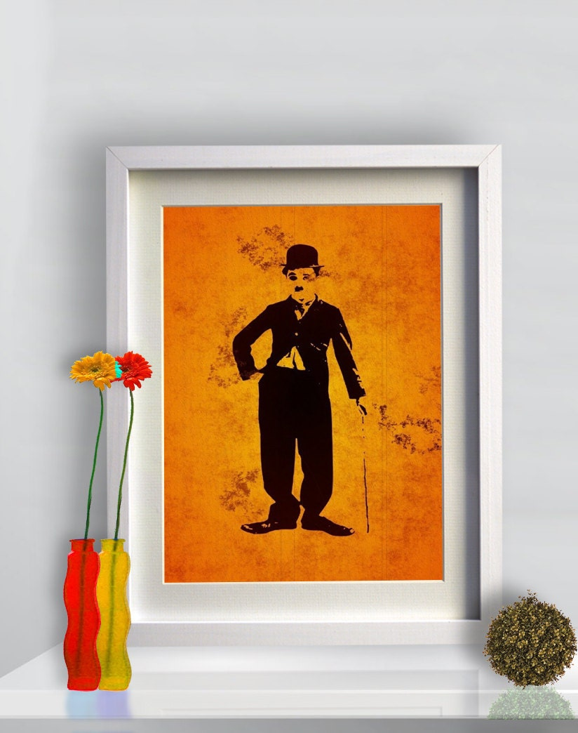Print Charlie Chaplin Illustration Birthday Gift Art Giclee