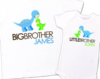 Big brother shirt little brother shirt-DINOSAUR - matching big brother / little brother set - for sisters, too, though