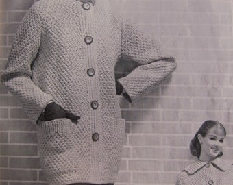 Vintage Knitting Patterns, 15 Bulky Knit Sweater Patterns from the 1960s for Men, Women, and Children by Bear Brand and Fleisher