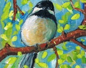 Spring Chickadee 5 x 7 print of original painting by artist Michelle Lake