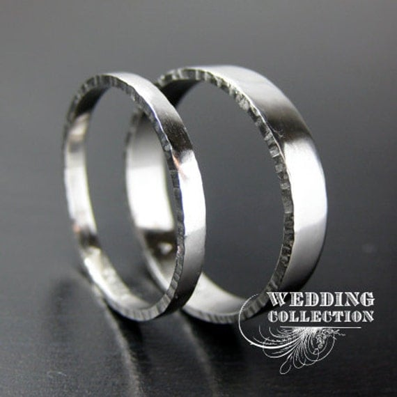 Set Recycled Palladium Wedding Rings Textured Edges 2mm and 4mm