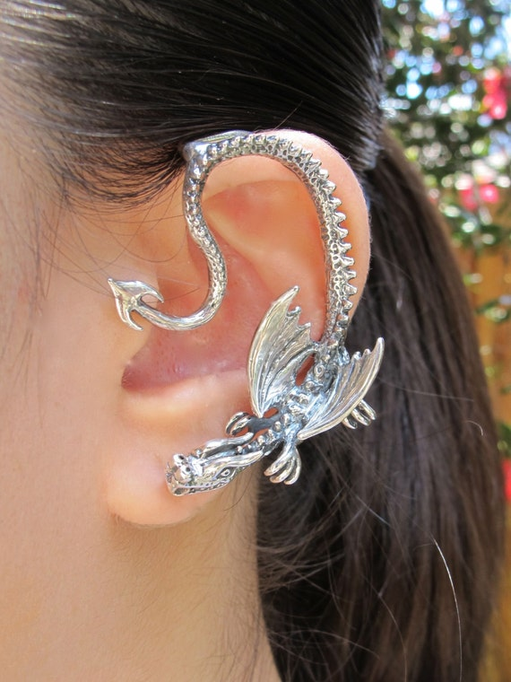 Dragon ear wrap silver dragon ear cuff throne dragon ear wrap - Game of thrones dragon ear cuff ...
