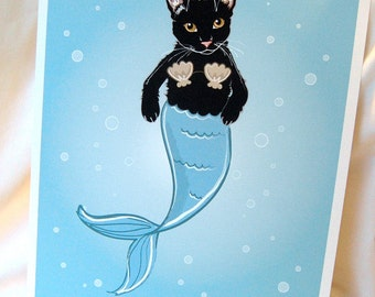 Black Cat Mermaid - Eco-Friendly 8x10 Print