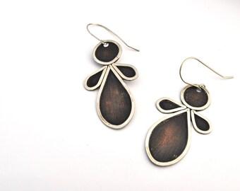 Mixed Metal Earrings, Large Copper Earrings, Large Silver Earrings, Statement Earrings, Oxidized Silver Earrings, Oxidized Copper Earrings,