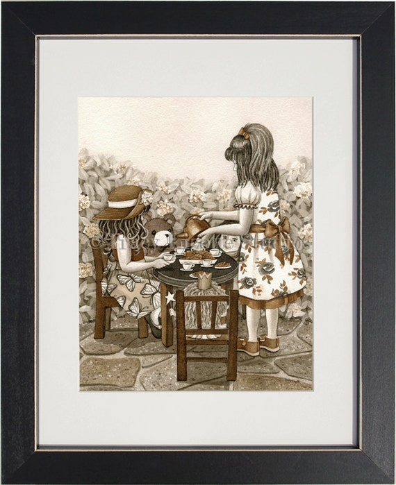 Tea Party - archival watercolor print by Tracy Lizotte