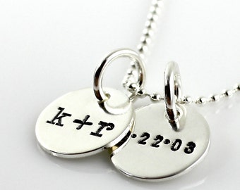Initial Necklace - You plus Me with Date hand stamped and personalized sterling silver necklace - two discs