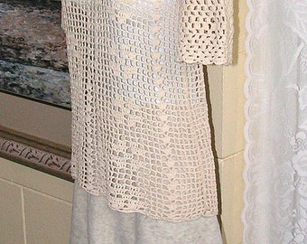 Vintage Top - Hand Crochet Cotton Lace - Short Sleeve Blouse - Cream Beige - Handmade Greece