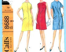 McCalls 8688 Dress French Dart Vintage Sewing 1960s Pattern Misses Size 10  Bust 31