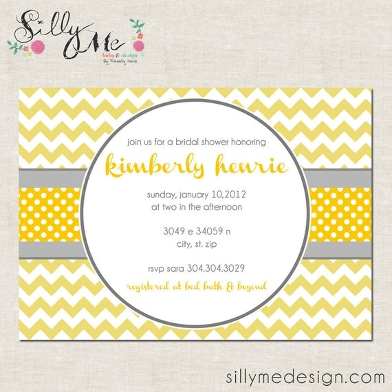Items similar to Chevron and Dots- Custom Baby Shower Invitation, Bridal Shower invite- Any ...