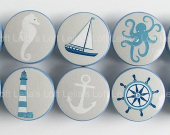 Nautical Drawer Knobs, Sailboat Knobs, Sea Animal Knobs, Octopus Knobs, Nautical Knobs Whale Knobs -Wood Knobs- 1 1/2 Inches
