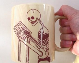 Skeleton Mug Ceramic Humorous Die Hard Computer Geek, Geekery Mug
