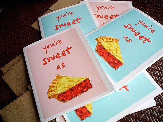 Blank Cards, Thank You Cards, Boxed Cards, Hostess Gift, Notecard Set, Cherry Pie, Gift Under 25 Dollars, Blank Greeting Cards, Set of 6