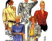 635-729 McCalls 2896 Womens Vintage Shirt Blouse Top size 6-8 OR 10-12 Bust 30 1/2 - 34 Easy 80's Fashion Basics Sewing Pattern