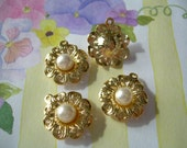4 Lovely Gold Plated Filigree Pearl Charms Flower Petals Vintage