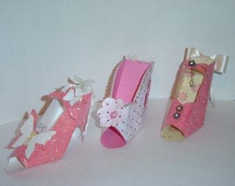 High Heel Shoe Keepsake Favor  Gift Box OOAK 3 pc set Dress up party gifts