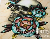 Skull & Roses Tattoo Art A4 Print