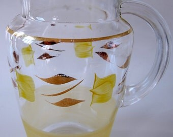 Water Pitcher Ice Lip Frosted Yellow Gold Band Flower Vintage