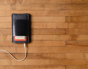 iPhone Case - Charcoal Felt and Black Leather Pocket