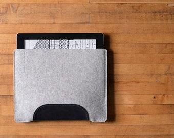 iPad Air Sleeve - Grey Felt and Black Leather