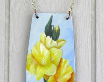 Yellow Gladiolas Welcome Sign, Hand Made and Hand Painted