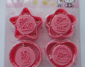Cute Hello Kitty And Cathy Bunny Rabbit Cookie Cutters & Stamps Set - 8 Pieces - Star, Flower, Oval, Heart Cutters And 4 Stamps