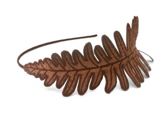 Fern Leaf Headband- Toasty Bronze with Sienna Embroidery- Dried Fern in Autumn