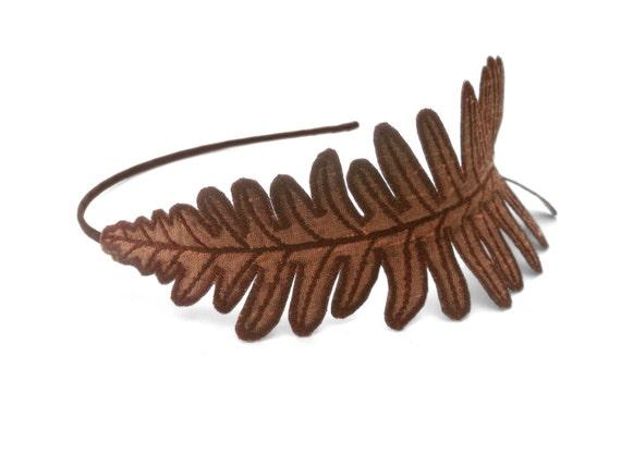 Fern Leaf Headband- Toasty Bronze with Sienna Embroidery- Dried Fern in Autumn