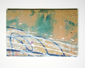 Artist's Sketchbook, Breaking Waves, Stab Bound with Up Cycled Materials and Hand Painted Cover