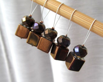 LAST SET - Night Fever  - Five Snag Free Stitch Markers - Fits Up To 5.5 mm (9 US) - Limited Edition