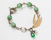 Handmade Jewelry Neo Victorian Filigree beaded Bracelet antique gold swallow bird charm emerald green agate white pearls jade Gift R1081