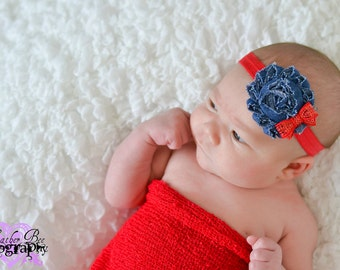 Denim Vintage Shabby Flower Red Sequin Bow Baby Toddler Headband photo prop