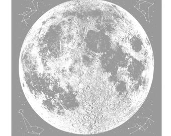 Grey Full Moon Bandana, Space Clothing, mens bandana, full moon scarf, reusable cloth with space stars and animal constellations print