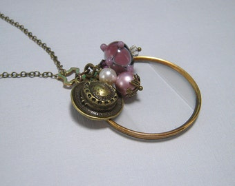 The Cranford Monocle Necklace - Country Hat and Lampwork Glass on Brass (Short Length) (CN-42)