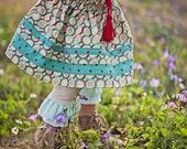 SALE Wildflower Skirt // Girls Vintage Print Skirt with Red Tassels