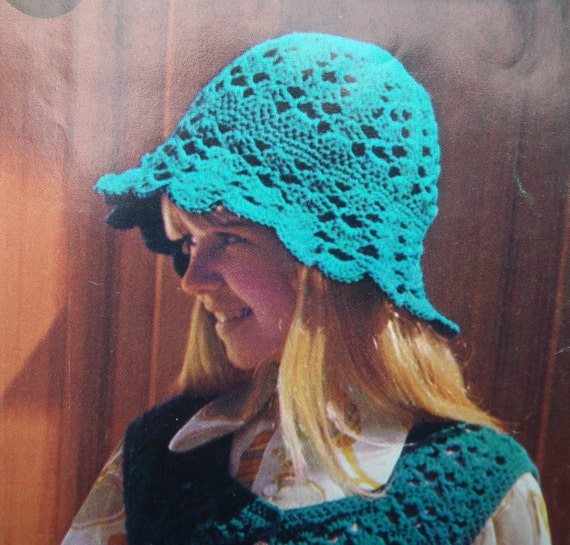 Vintage Crochet Pattern 1970s Girls Waistcoats Jerkins Hats 70s original pattern