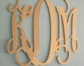 "20"" Wood Monogram - UNFINISHED - Wedding Guest book, photo prop, nursery decor"