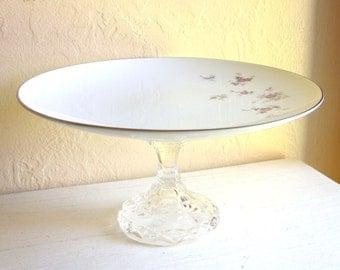 Large Pedestal Cupcake Plate Cake Dish Elegant Mauve Burgundy Roses Silver Trim