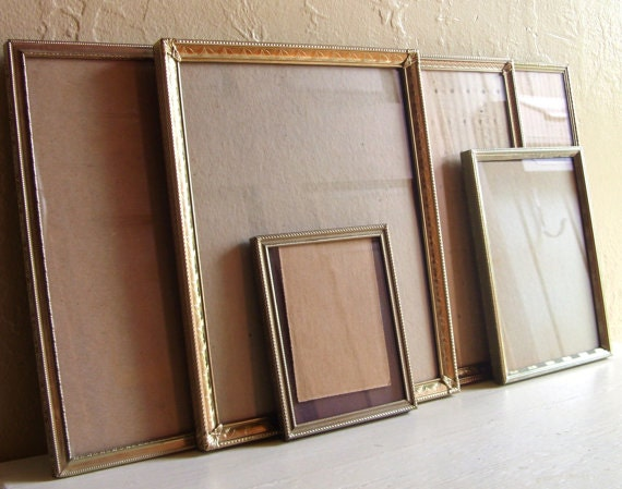 Vintage Gold Fancy Metal Picture Frames 8x10 and 5x7